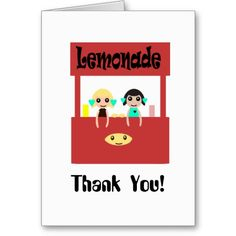 Thank You kawaii  Lemonade Stand Cards  $2.95   http://www.zazzle.com/abundancelovetrip #Kawaii #art #cute #whimsy #whimsical #thanks #Thankful #Cards  kawaii art by Valerie