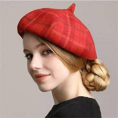 088a4aeed38c8 Red plaid beret hat for women autumn winter wool french beret hats