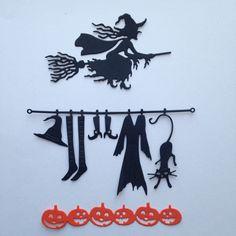 lot découpes halloween sorcière citrouille scrapbooking embellissement album scrap die cut déco : Embellissements par lafscrap