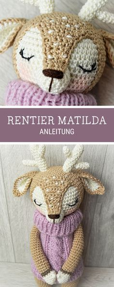 PDF Download für das Amigurumi Rentier Matilda, #häkelanleitung / crochet tutorial and pattern for a cute amigurumi reindeer, #crocheting made by Wolltastisch via DaWanda.com