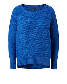 Blue Chevron Stitch Jumper  | New Look