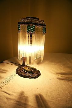 STUNNING LOETZ ANTIQUE ART DECO NOUVEAU DESK LAMP 1920s LILLY BRASS GLASS  RARE