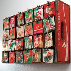 I love this retro crate advent calendar by Jennifer Perkins! #Christmas #Advent