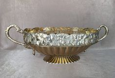 Large Brass Cachepot Ornate Brass Pot Reticulated by DotnBettys