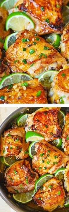 Pan-Roasted Honey Lime Chicken Thighs – sub coconut aminos for soy sauce easy, delicious, super-flavorful chicken! Use GF soy sauce Best Chicken Thigh Recipe, Chicken Thigh Recipes, Chicken Flavors, Chicken Meals, Keto Chicken, Cooking Chicken Thighs, Honey Lime Chicken, Cilantro Lime Chicken, Atkins