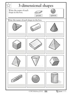 Here's a page where students are asked to write the names of 3-D ...