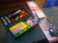 Easter ideas for boys tackle boxes filled with fishing gear and a fishing easter basket tackle box has swedish fish gummy worms negle Images
