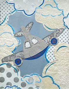 Little Airplane Collage Canvas Wall Art #PoshTotsNursery