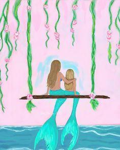 Mermaid Art Mermaid Print Sisters Mother by LeslieAllenFineArt