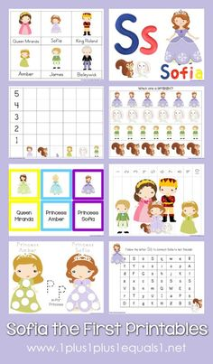 Sofia the First Printables {free} from www.1plus1plus1equals1.net