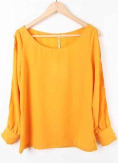 Yellow Long Sleeve Off the Shoulder Chiffon Blouse - Sheinside.com