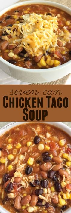 Seven Can Taco Soup. Dinner does not get any easier than this 7 can chicken taco soup! Dump 7 cans into a pot plus some seasonings and that's it! Serve with tortilla chips, cheese, and sour cream. You won't believe how yummy & easy it is. Mexican Food Recipes, New Recipes, Healthy Recipes, Recipies, Healthy Food, Indian Recipes, Chili Recipes, Shrimp Recipes, Potato Recipes