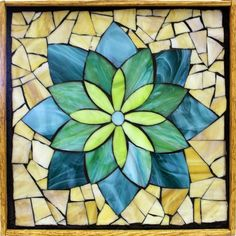 "Student Work - Framed Stained Glass Mosaic Lotus 12"" x 12"" created by Carolyn in a Stained Glass Mosaic Flower Workshop with Artist Kasia Polkowska - View the list of locations and dates for Kasia's Workshops Here: http://kasiamosaicsclasses.blogspot.com/"