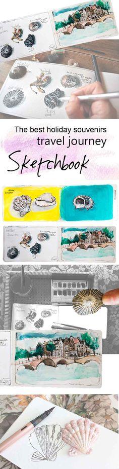 moleskine, sketchbook drawings, watercolours, Shell
