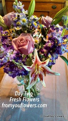 "I enjoy flowers and receiving flowers ""just because"" makes my heart sing! Lavender Rose and Lily Celebration from fromyouflowers.com #Flowers #Gift"