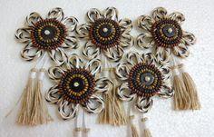 Indian Flower Motifs & Appliques  Jute / Hemp by uDazzleSupplies