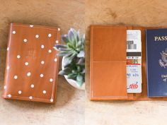 Leather Travel Wallet for Passport with Pockets and Polka Dot Pattern// Shop Always Rooney - Etsy