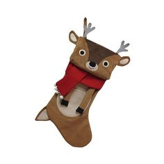 """Holiday Deer Plush Stocking \"""", Brown/Black/White/Red (115 SEK) ❤ liked on Polyvore featuring home, home decor, holiday decorations, deer home decor, holiday christmas stockings, plush christmas stockings y brown home decor"""