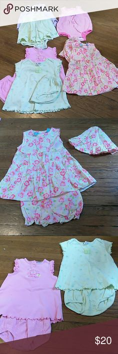 6M Summer Baby girl bundle 6 adorable outfits for your precious little darling. Very good condition no stains. 3 rompers and 3 dresses with diaper covers. Carter's Matching Sets