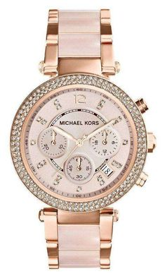 Great for Michael Kors 'Parker' Blush Acetate Link Chronograph Watch, Womens accessories from top store Michael Kors Rose Gold, Michael Kors Watch, Stainless Steel Watch, Stainless Steel Bracelet, Cartier, Rolex, Fossil Watches, Women's Watches, Wrist Watches