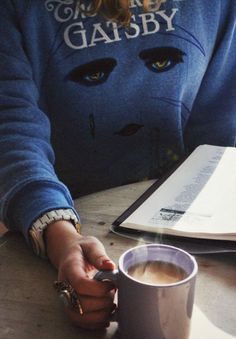 The Great Gatsby sweatshirt & hot coffee #style #fashion #weekend