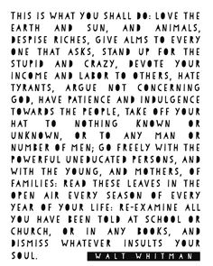 """Walt Whitman """"Leaves of Grass"""" Print Cool Words, Wise Words, Quotes To Live By, Me Quotes, Book Quotes, Qoutes, Walt Whitman Quotes, Handwritten Quotes, Love The Earth"""