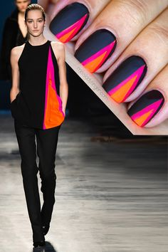 neon and black nail art