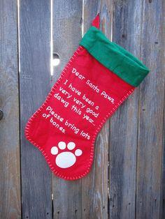 Dog Christmas Stocking  vintage dog by treasures4youreyes on Etsy