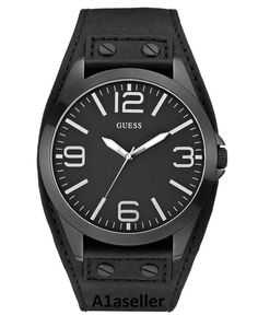 Brand New Guess Black Silver AnalogDial Leather Cuff Strap Men Watch NEW U0181G2