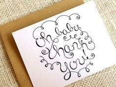 Items similar to Baby Shower Thank You Cards - Set of 10 Thank You Notes for Baby Boy Girl or Gender Neutral - Oh Baby Thank You Hand Drawn in Black or Gray on Etsy Baby Shower Thank You Cards, Happy Design, Keep It Simple, New Baby Gifts, Hand Drawn, New Baby Products, How To Draw Hands, Ink, Gray