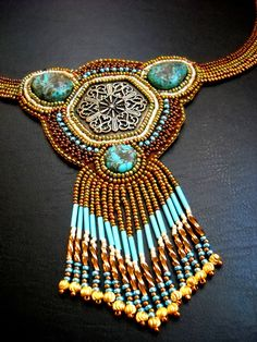 Medley - Ancient  Golden BronzeTurquoise Bead Embroidered Necklace