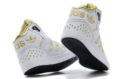 white high top adidas | 2014 New Adidas high-top shoes for women white gold