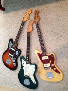 Three Offsets. AVRI Jazzmaster Sherwood Green, AVRI Jaguar Sunburst, 1963 Jazzmaster Blonde