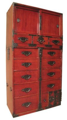 Japanese Antique 2-Section Choba Tansu with Locking Bar.