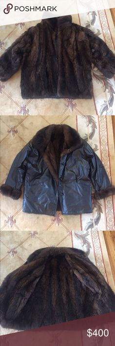 Reversible fur/leather jacket Awesome possum fur/real leather jacket! Bought for 1,000 but way too big for me =( For men/women. Good condition. Got the fur & leather certified from the fur department at Macy's. I always take offers! =) Jackets & Coats