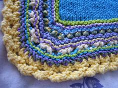 tetris baby blanket with mock crochet edging - edging close up | Flickr - Photo Sharing!
