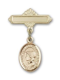 ReligiousObsession's 14K Gold Baby Badge with St. Elizabeth Ann Seton Charm and Polished Badge Pin -- For more information, visit image link. (This is an Amazon Affiliate link and I receive a commission for the sales)