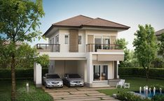 The small two-story house is one of the most popular house design of all time. Why does everyone fall in love with small houses? Today, we have 50 typ. Two Story House Design, 2 Storey House Design, Two Storey House, Bungalow House Design, Modern House Design, Small House Floor Plans, Latest House Designs, 3d Home, Facade House