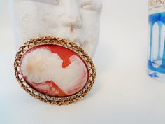 Vintage cameo large oval pendant cameo relief by Lilacwinevintage