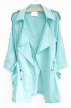 Blue+Lapel+Drawstring+Epaulet+Pockets+Buttons+Loose+Outerwear+US$31.97