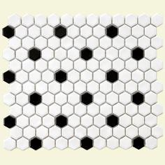 SomerTile 12x10.25-in Victorian Hex 1-in White/Black Dot Porcelain Mosaic Tile (Pack of 10) | Overstock.com | $59.04