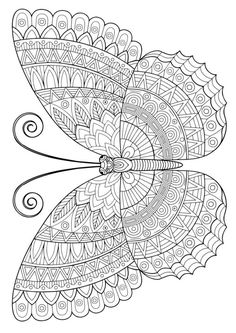 Butterfly Coloring Page, Mandala Coloring Pages, Animal Coloring Pages, Free Adult Coloring Pages, Butterfly Drawing, Coloring Pages For Kids, Printable Coloring Pages, Colouring Pages, Free Coloring