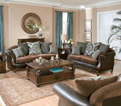 A neutral design palette is timeless    Pulte Homes   Spring Decor   Brown sofas  blue pop s and cream colored wall s my Living room . Brown Furniture Living Room. Home Design Ideas