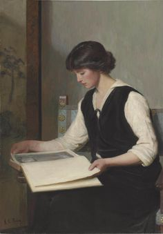 Lilla Cabot Perry (1848-1933, USA) - Reading - Private Collection