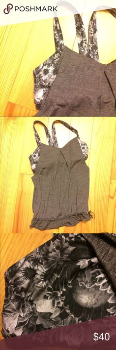 Lululemon 🍋 Rest Less Tank Black flowabunga Lululemon 🍋 Rest Less Tank Sz 8 Heathered Black Floral HBLK/FBAW Top Yoga Bra. Excellent condition - I wore it once. Just didn't fit me right bc I'm used to the racer backs 😐- size 8. L lululemon athletica Tops