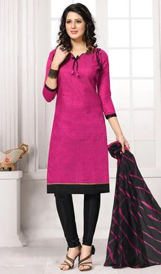 True elegance can come out with this India churidar suit in pink and black color cotton. The lace and resham work looks chic and best for any affair. #fushiashadedresses #straightcutsalwarsuit #laheriyadupattadresses