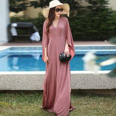 Big Size 7XL women dress plus size 6l long Chiffon Flare Butterfly 2/3 Sleeve Maxi dresses Vintage Autumn vestido de festa