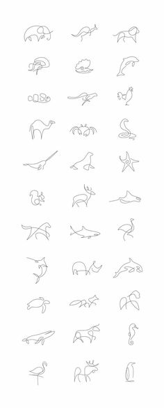 Tiny Tattoo Idea - Minimalist One Line Animals By A French Artist Duo - Art - Tattoo Designs For Women One Line Animals, Handpoke Tattoo, Beste Tattoo, Animal Logo, Tattoo Animal, Small Animal Tattoos, Cheetah Tattoo, Small Fish Tattoos, Small Hand Tattoos