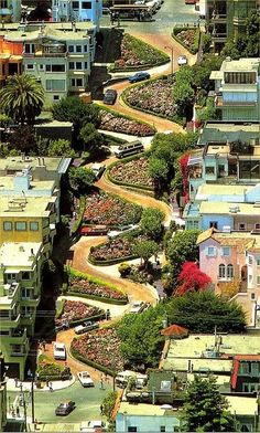 That's a unique way to slow down traffic.  ~ Lombard Street - San Francisco, California | Incredible Pictures~