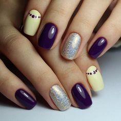 Classic short nails, Grey and yellow nails, Hardware nails, Ideas for short nails, Lilac nails, Pale yellow nails, Polka dot nails, Purple nails ideas